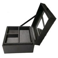 Best Handmade Luxury Fancy Jewelry Box With Mirror Black Color Custom Size wholesale