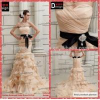 China Surmount Professional Real Sample Sweetheart Champagne Organza Ruffle princess Wedding dresses on sale