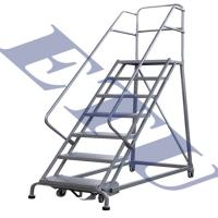 China Material Handling equipment 4-12 Step Heavy Duty Industrial Steel Rolling Ladder 300kg Capacity US Type on sale