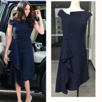Best European Harry Princess Megan Chic Slim Dress Off Shoulder Women Sexy Brief Dark Blue Irregular Midi Dress Elegant wholesale