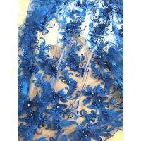 Best 3D Rhinestone Beaded Tulle Fabric , Embroidered Royal Blue Lace Fabric For Bridal Gown wholesale