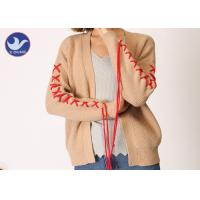 China Spring / Autumn Womens Long Sleeve Cardigan Sweater Ribs Knitting on sale