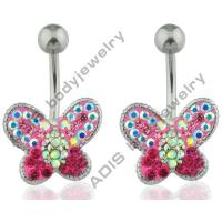 China Handmade Crystal Belly Piercing Jewelry / Belly Ring Jewelry Butterfly Shape on sale