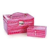 Best Trendy square plastic frame high abrasive PU leather jewellery box with flannelet lining and drawers wholesale