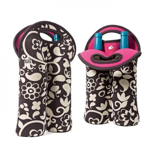 Cheap Portable 2 Pack Red Wine Bottle Cooler Sleeve , Neoprene Bulk Wine Bottle Cooler Bag for sale