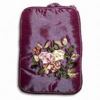 China Mobile Phone Bag with Flower Printing and Polyester Lining, Made of Silk Fabric on sale