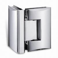 Best Arc-shaped Glass-to-glass Brass Shower Hinge, Suitable for 8 to 10mm Tempered Doors wholesale