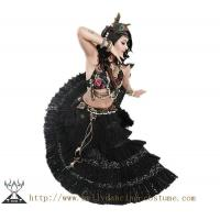 China High Class Thick Tribal Belly Dance Costumes Hand Made Fabric Flower on sale