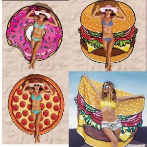 Best Women Beach Cover Up Pareo Pizza Creative Shape Beach Mat Swimwear Cartoon Cloak mats Summer Saida De Praia wholesale