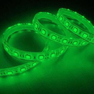 Best 5050 SMD Flexible LED Strip, 60LEDs/Meter, Green, IP68 Waterproof Grade, PU Glue Filling wholesale