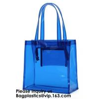 Best Beach Bag Clear PVC Bag Tote With Inner Pocket And Zipper Closure,PVC Bag Beach Tote With Black Handles, Bagease wholesale