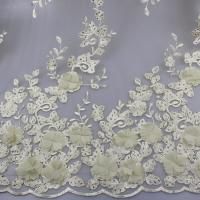 Best 3D Floral Lace Fabric With Beaded Embroidered Polyester Fiber For Party Gowns wholesale