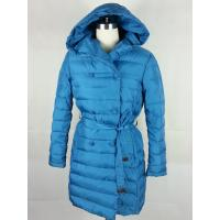 Best Duck Feather Double Breasted Overcoat Womens Long Down Winter Coats Blue wholesale