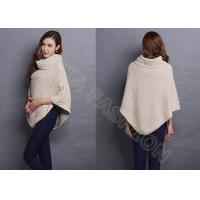 Best Winter Chunky Turtle Neck Womens Cellular Knit Sweaters in Poncho Style , White wholesale