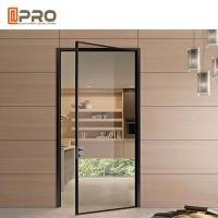 Best Black Color Powder Coated Aluminium Glass Hinged Door For Housing Project Door hinge black hinge for bifold doors wholesale