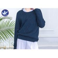 China Cable Knitting Navy Wool Jumper Womens , Round Neck Wool Jumpers Reglan Sleeves on sale