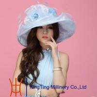 Best Summer Church Light Blue With Wide Brim Organza Hats For Women wholesale