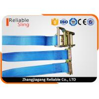 China 20 Ft Blue E Track Ratchet Straps for Quick Tension Release Truck Trailer Loads on sale