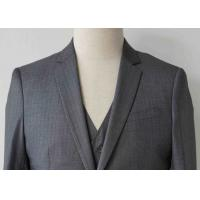 Best Stripe Mens Light Gray 3 Piece Suit Worsted Wool Flat Pocket Japanese Style wholesale