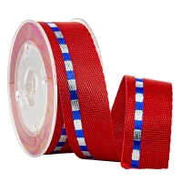 China Sports Shoes Accessories Foil Silver & Blue Gold 19 MM Nylon Woven Tape on sale