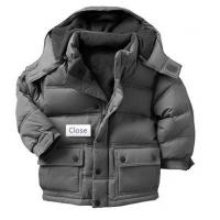 China Cordura Polyester Toddlers / Kids Grey Fleece Down Padded Jackets For Winter on sale