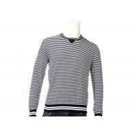Best Striped Jumper Modern Mens Knit Sweater Winter Cotton Long Sleeve In Grey wholesale