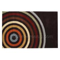 Best Rainbow Pattern Black Hand-tufted Wool Area Rug 0.8cm - 1.2cm Pile Height Customized Size wholesale