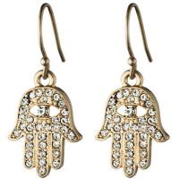 Best Novelty Rhinestone 925 Silver Fashion Jewelry Hamsa Hand Earrings For Gift wholesale