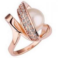 Best No Nickel Rose Gold Customized Fashion Jewelry Ring With Small Pearl Gemstone wholesale