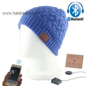 China blue acrylic one tone custom Outdoor Sports Wireless Bluetooth headphone Beanie Hat on sale