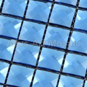 Best Beveling Edge Blue Mirror Color Crystal Glass Mosaic Tile for Backsplash GB014 wholesale