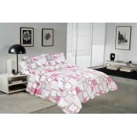 Best White And Pink Printed Quilt Set 100 Percents Cotton For Household Bedroom wholesale