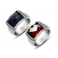 China Mens Stainless Steel Rings Agate Silver Vintage Style Rings With Black Stone on sale