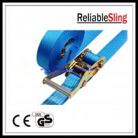 China Custom 50mm Polyester Car tie down ratchet straps Lashing Belt with hooks on sale