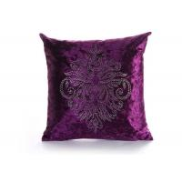 Best Custom Unique Creative Shiny Diamonds Logo Purple Square Soft Velvet Pillow Case wholesale