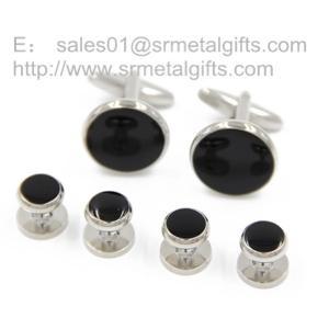 Best Black soft enamel cufflink and stud set for men, men