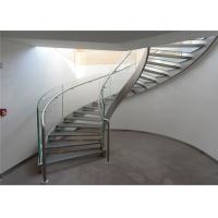 Best White Marble Tread Curved Exterior Stairs , Modern Marble Stairs No Fixed Central Column wholesale
