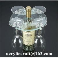 Best Personalized Engraved Transparent Round Acrylic Four Wine Glass Holder wholesale