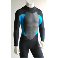 Black/Blue Mens Full Body Neoprene Suit Surf With Mesh Skin trim on the chest and back