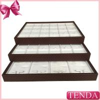 Best Portable PU Synthetic Genuine Leather White Velvet Stacking Stackable Jewellery Jewellers Jewelry Trays wholesale