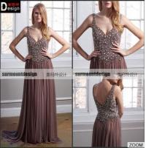 Best Custaom made Beaed Bodice Spaghetti Straps Evening Dress Long Prom Dresses wholesale