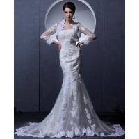 China Simple Lace Bra long train Ladies Wedding Dresses strapless wedding gowns with Invisible Zipper on sale