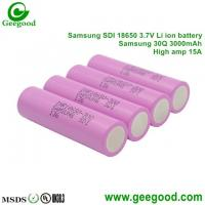 China 2016 Hot sale battery Samsung 18650 30Q 3000mAh 15A 3.7V 18650 battery for vape / power tools E-BIKE E-CAR on sale