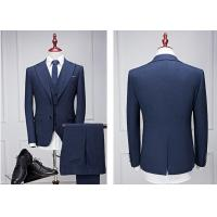 Navy Blue Mens Tuxedo Suits , One Chest Pocket Guys Tuxedos For Weddings