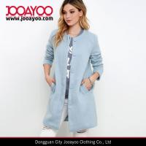 Best Ladies Collarless Long Sleeve Light Blue Wool Long Winter Coat wholesale