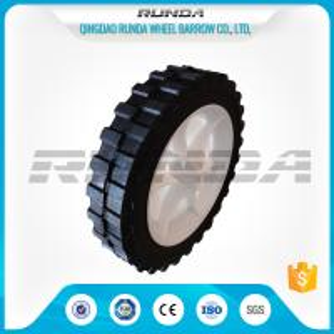 China No Bearing Solid Rubber Wheels , Black 8 Inch Hand Truck WheelsDiamond Tread on sale