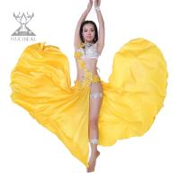 Best Elegant Sexy Yellow Professional Belly Dance Costumes With Bra / Skirt And Legging Sets wholesale