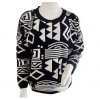 China Dropped shoulder Aztec jacquard Ladies pullover sweaters Black base with white Aztec on sale