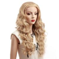 China Blonde Deep Wave Synthetic Front Lace Wigs For White Women on sale