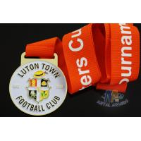 Best Custom Metal Zinc Alloy Football Medals Soft Enamel with Europe Printing Ribbon wholesale